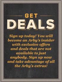 Hanson Restaurants Arby's Get Deals Signup Image